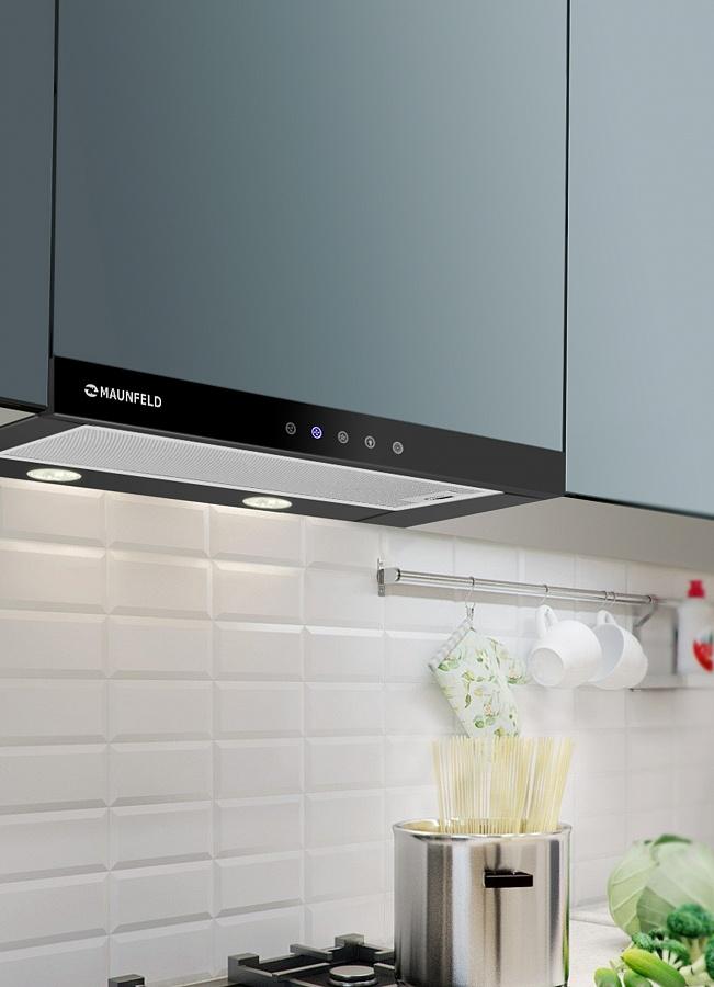 фото кухонь со встроенной вытяжкой для